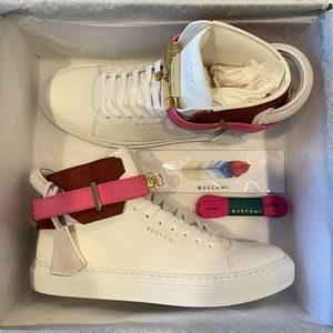 Buscemi 100MM Leather Suede High-Top Sneakers PINK